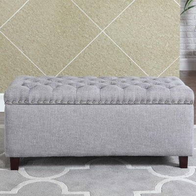 Brazil Nailhead Button Tufted Storage Ottoman Upholstery: Gray