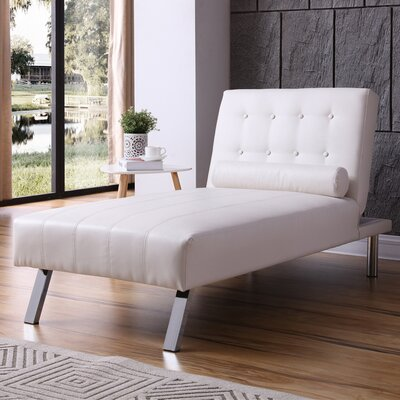 Verlene Button Tufted Chaise Lounge Upholstery: White