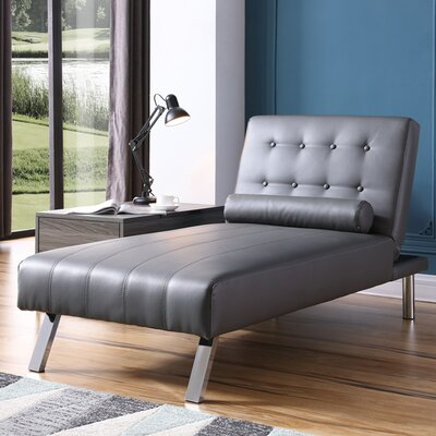Verlene Button Tufted Chaise Lounge Upholstery: Gray