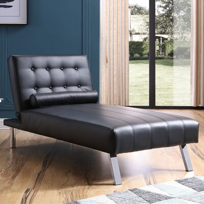 Verlene Button Tufted Chaise Lounge Upholstery: Black