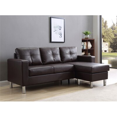 Marybelle Convertible Reversible Sectional with Ottoman Upholstery: Brown