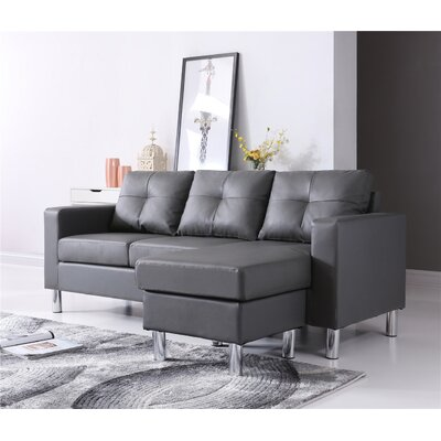 Marybelle Convertible Reversible Sectional with Ottoman Upholstery: Gray