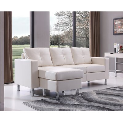 Marybelle Convertible Reversible Sectional with Ottoman Upholstery: White