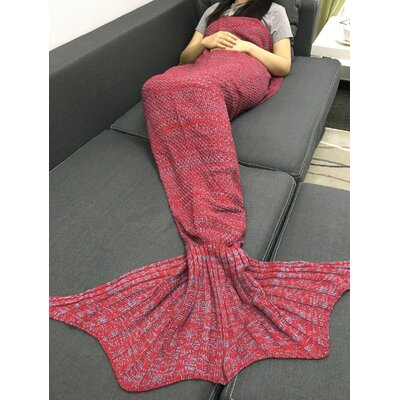 Fish Tail Cotton Throw Blanket Color: Pink