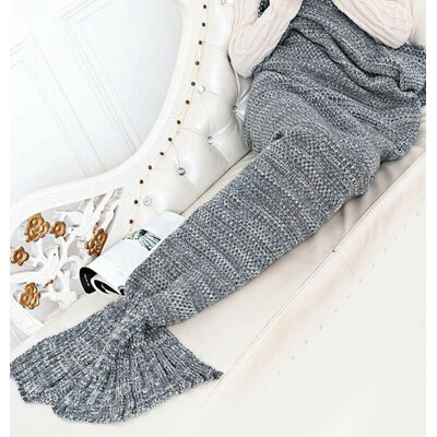 Mitscher Fish Tail Cotton Throw Blanket Color: Gray
