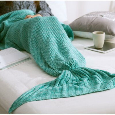 Fish Tail Cotton Throw Blanket Color: Green