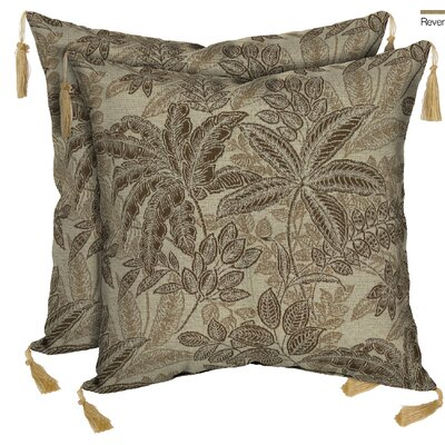 Palmetto Reversible Outdoor Throw Pillow Color: Mocha