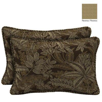 Palmetto Reversible Outdoor Throw Pillow Color: Espresso