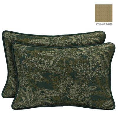 Palmetto Reversible Outdoor Throw Pillow Color: Jungle Green
