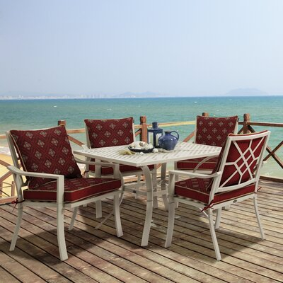 Valencia 5 Piece Dining Set Fabric: Geo Floral