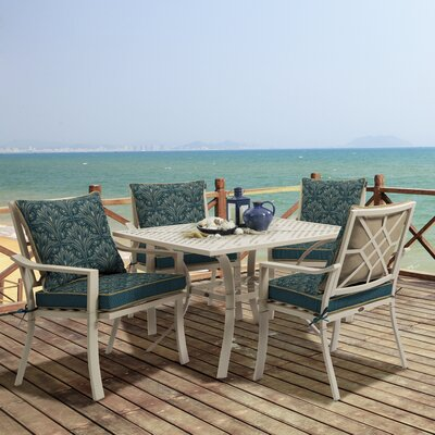 Valencia 5 Piece Dining Set Fabric: Royal Zanzibar
