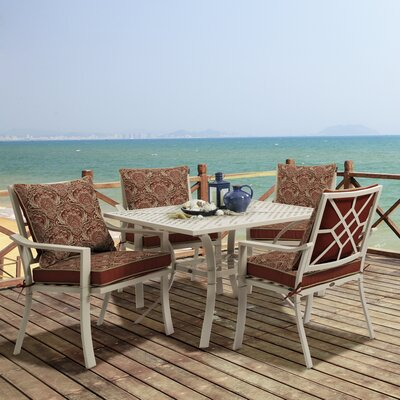 Valencia 5 Piece Dining Set Fabric: Venice