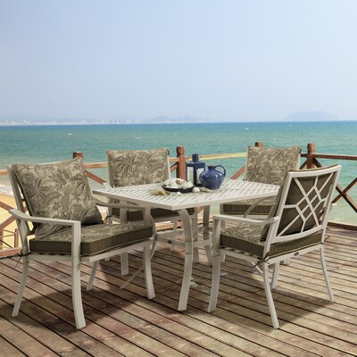 Valencia 5 Piece Dining Set Fabric: Palmetto Mocha