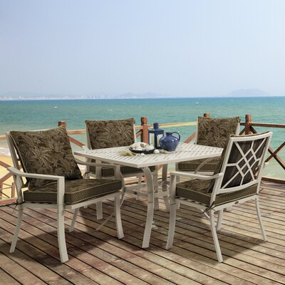 Valencia 5 Piece Dining Set Fabric: Palmetto Espresso