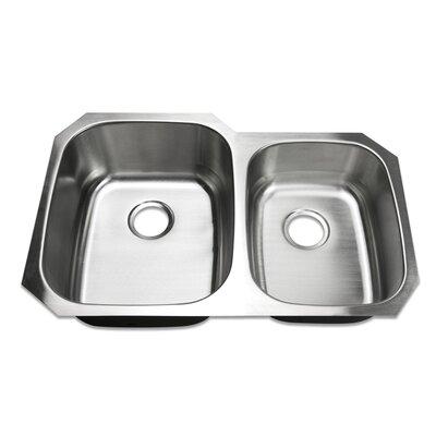 32 Undermount 60/40 Offset Double Bowl Stainless Steel Kitchen Sink