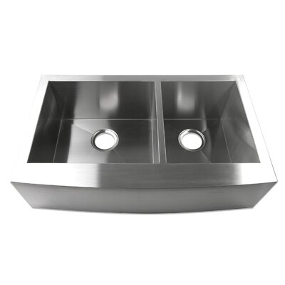 33 x 20 Farmhouse Apron 60/40 Offset Double Bowl Stainless Steel Handmade Zero Radius Kitchen Sink