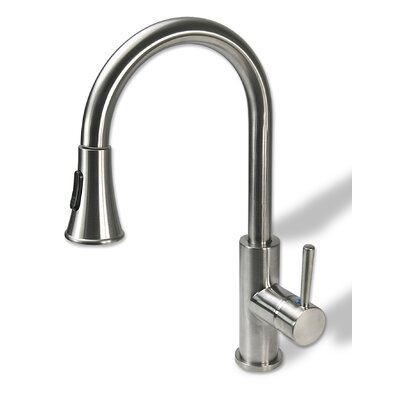 Single Handle Kitchen Sink Faucet with Pull Down Spray Finish: Brushed Nickel