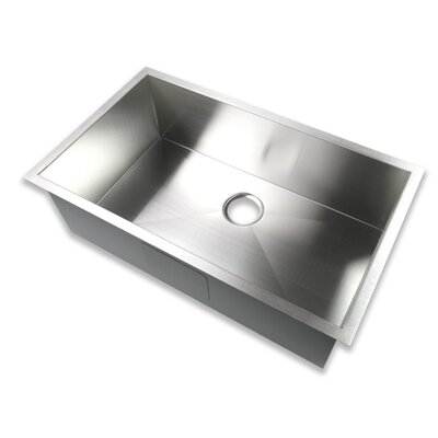 32 x 19 Undermount Single Bowl 16 Gauge Stainless Steel Handmade Zero Radius Kitchen Sink