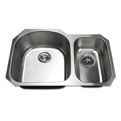 31.5 Undermount 70/30 Offset Double Bowl Stainless Steel Kitchen Sink