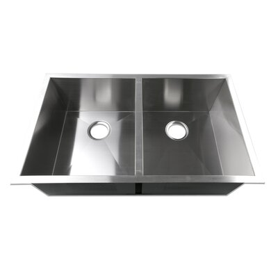 33 x 20 Undermount 50/50 Equal Double Bowl 16 Gauge Stainless Steel Luxury Handmade Kitchen Sink