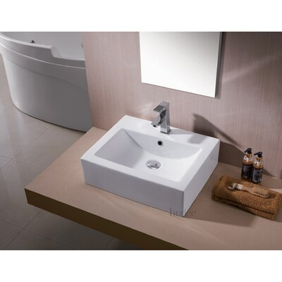 L-003 Bathroom Ceramic Rectangular Vessel Bathroom Sink with Overflow