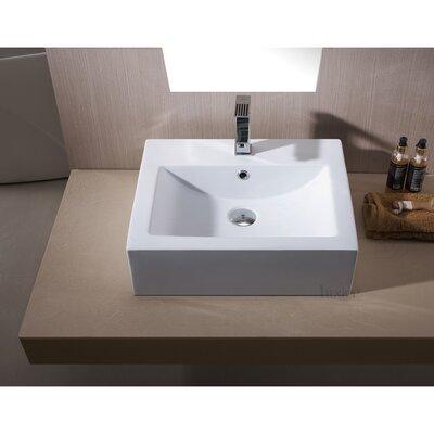 L-003 Bathroom Porcelain Ceramic Rectangular Vessel Bathroom Sink with Overflow