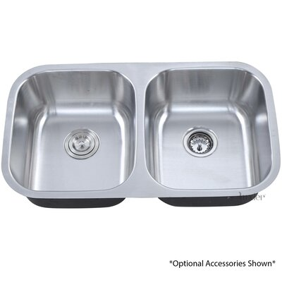 32.25 Undermount 50/50 Equal Double Bowl Stainless Steel Kitchen Sink