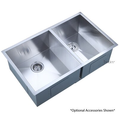 33 x 20 Undermount Offset Double Bowl 16 Gauge Stainless Steel Luxury Handmade Kitchen Sink