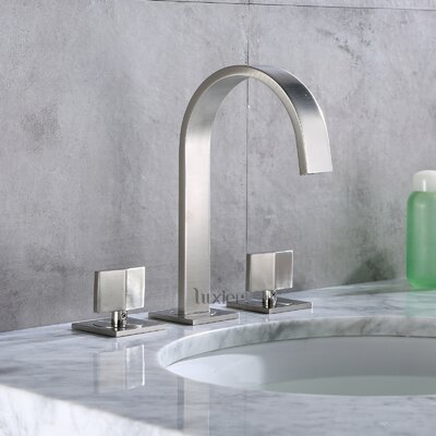 Contemporary Widespread Handle Bathroom Faucet Finish: Brushed Nickel