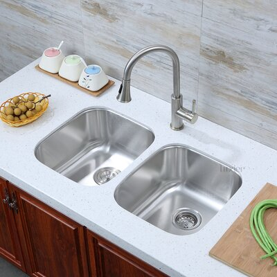 Stainless Steel 33 x 19 Double Basin Undermount Kitchen Sink