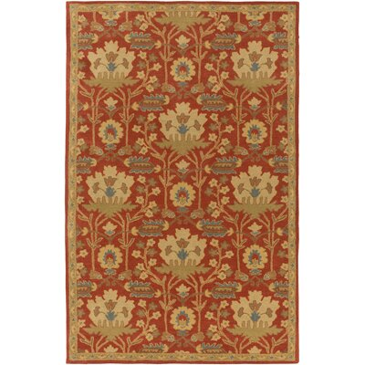 Kempinski Hand-Tufted Red/Beige Area Rug Rug Size: Rectangle 9 x 12