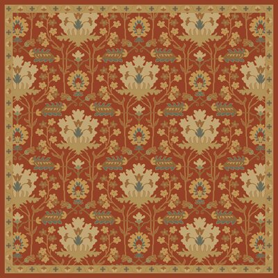 Kempinski Hand-Tufted Red/Beige Area Rug Rug Size: Square 99