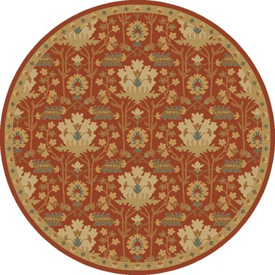 Kempinski Hand-Tufted Red/Beige Area Rug Rug Size: Round 99