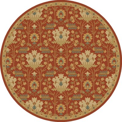 Kempinski Hand-Tufted Red/Beige Area Rug Rug Size: Round 9'9