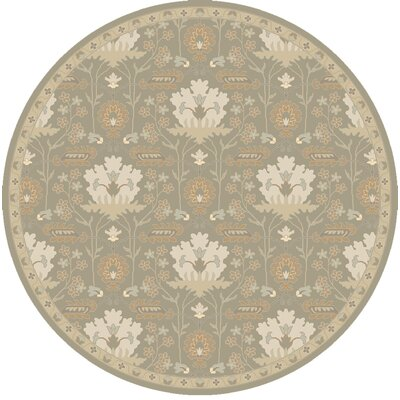 Kempinski Hand-Tufted Gray Area Rug Rug Size: Round 4