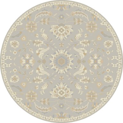 Kempinski Hand-Tufted Gray/Beige Area Rug Rug Size: Round 4'