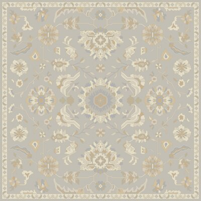 Kempinski Hand-Tufted Gray/Beige Area Rug Rug Size: Square 6