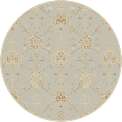 Kempinski Hand-Tufted Gray Area Rug Rug Size: Round 6