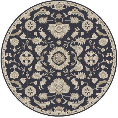 Kempinski Handmade Wool Black/Beige Area Rug Rug Size: Round 99