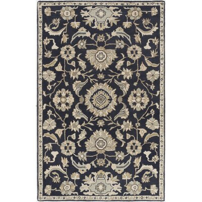 Kempinski Handmade Wool Black/Beige Area Rug Rug Size: Rectangle 12 x 15