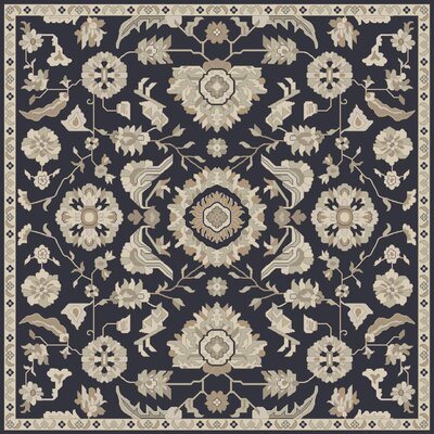 Kempinski Handmade Wool Black/Beige Area Rug Rug Size: Square 4