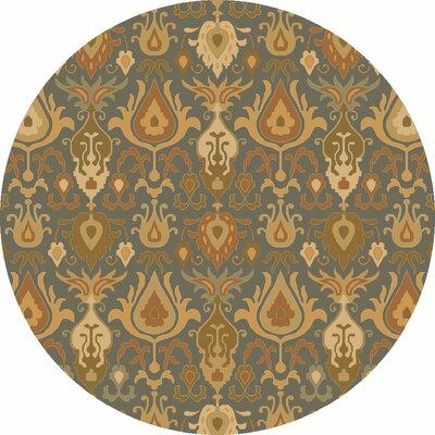 Kempinski Hand-Tufted Beige/Blue Area Rug Rug Size: Round 4