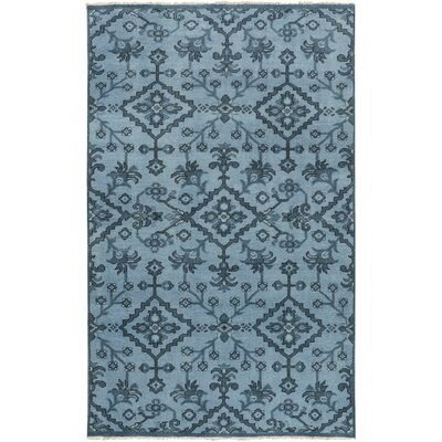 Shangrila Hand-Knotted Blue Area Rug Rug Size: 36 x 56
