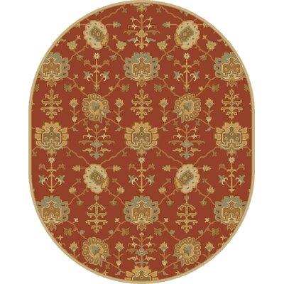 Kempinski Hand-Tufted Beige/Orange Area Rug Rug Size: Oval 6 x 9