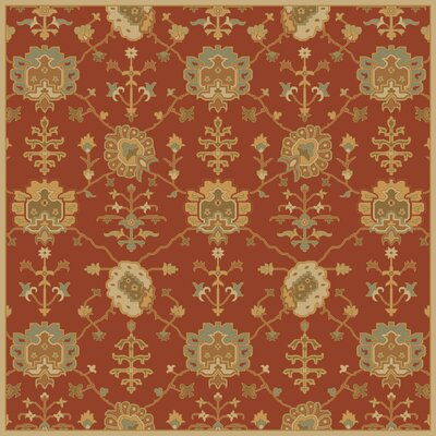 Kempinski Hand-Tufted Beige/Orange Area Rug Rug Size: Square 6'