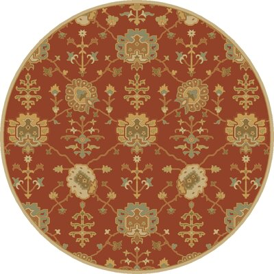 Kempinski Hand-Tufted Beige/Orange Area Rug Rug Size: Round 4