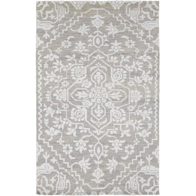 LErmitage Hand-Knotted Gray Area Rug Rug Size: Rectangle 5 x 76