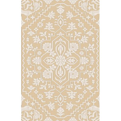 LErmitage Hand-Knotted Beige Area Rug Rug Size: Rectangle 6 x 9