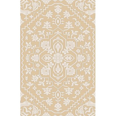 LErmitage Hand-Knotted Beige Area Rug Rug Size: 5 x 76