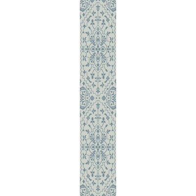 LErmitage Hand-Knotted Blue Area Rug Rug Size: Runner 26 x 8